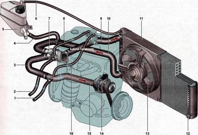 Система охлаждения Лада Калина: схема с фото и видео